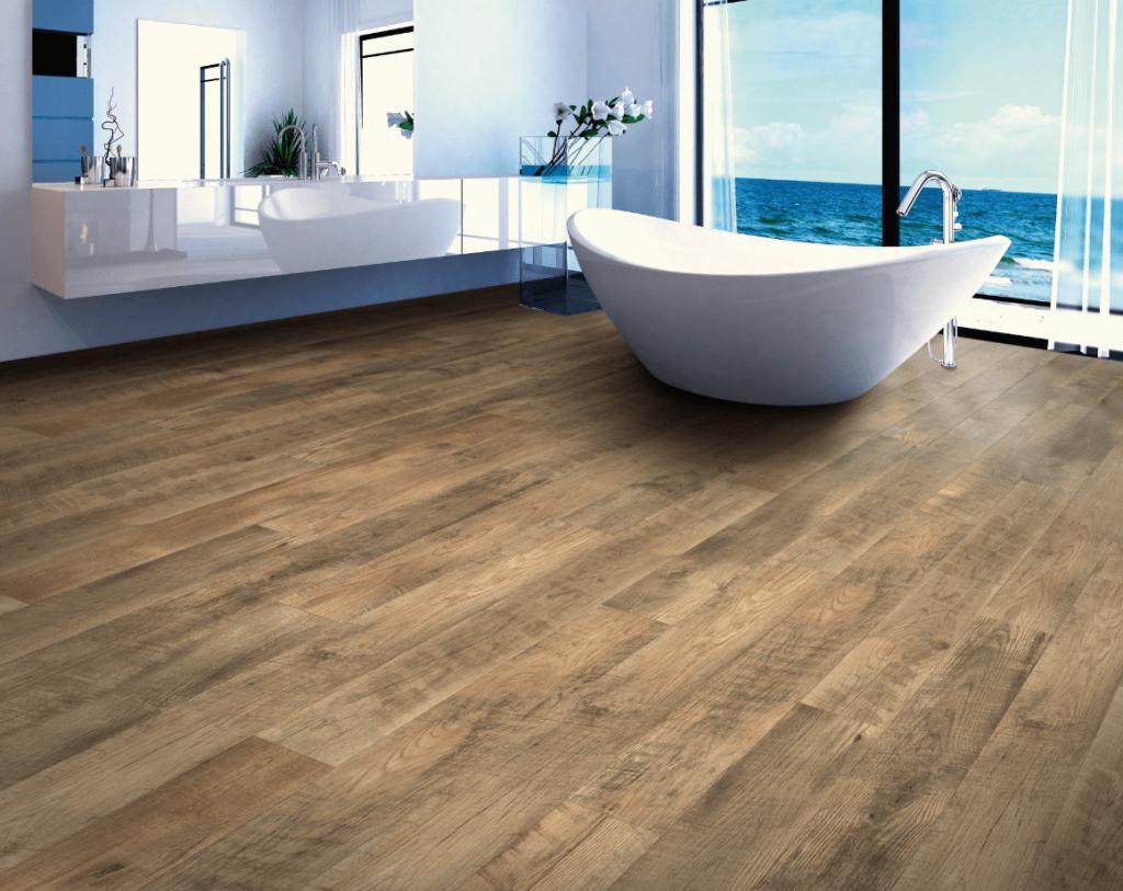 distressed hardwood look in large bathroom