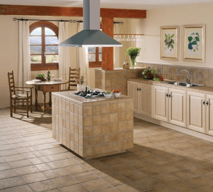 Colored tile flooring