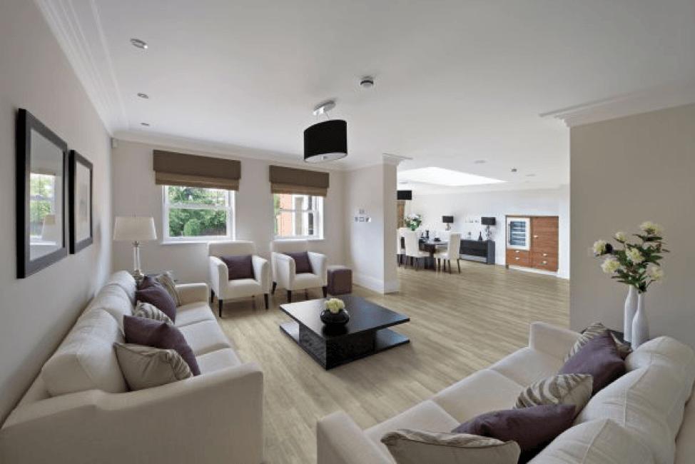 Vinyl flooring of modern living room