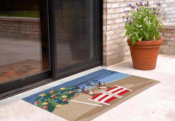 Porch Coastal Christmas mat