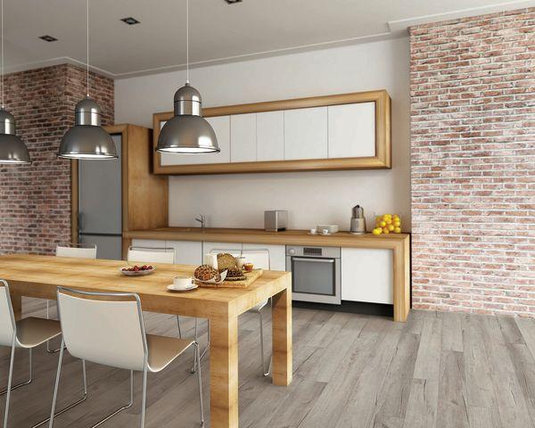 gray wood look COREtec luxury vinyl in kitchen