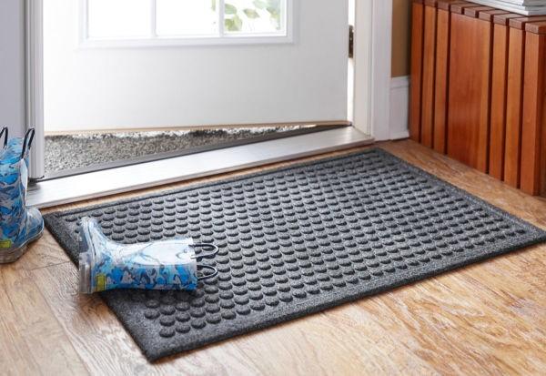 anti slip door mat on hardwood flooring