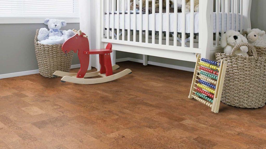 Baby room cork flooring