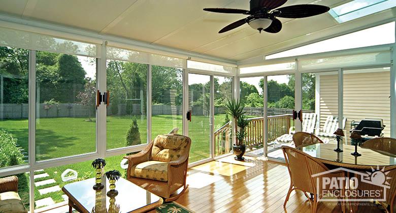 enclosed patio with light hardwood flooring