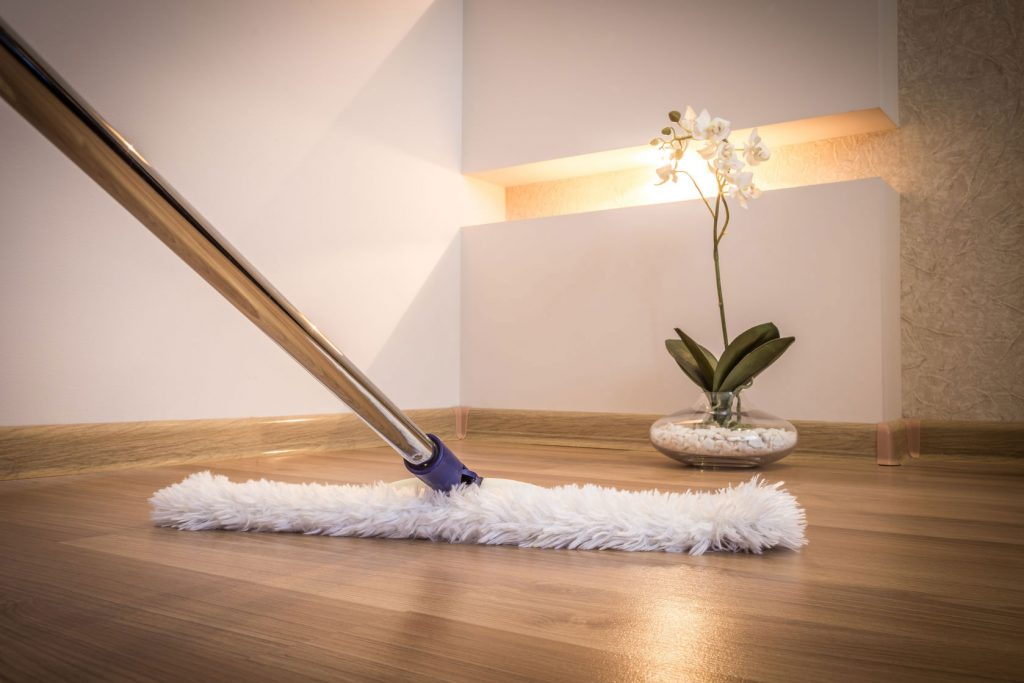dry mopping laminate flooring