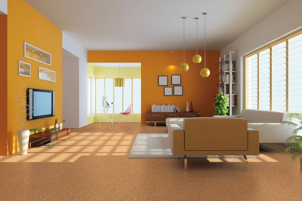 Carpet Flooring With Yellow Colorwall