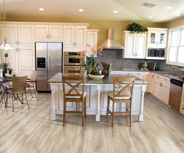 wood look tile in modern kitchen