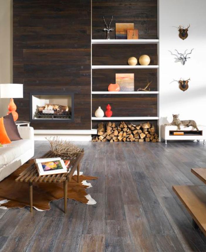 dark wood look flooring in rustic modern room