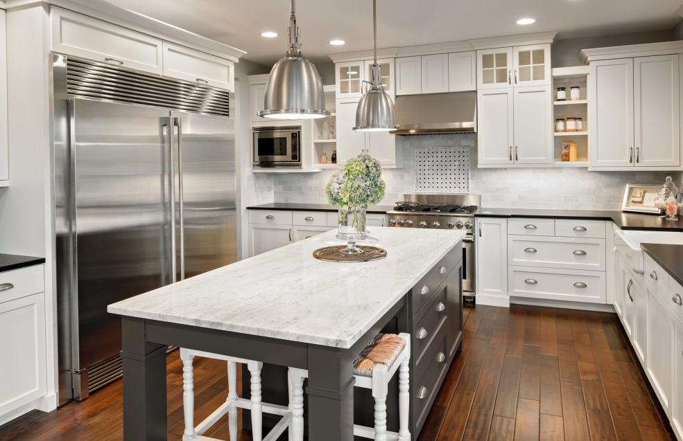 dark hardwood flooring in modern kitchen