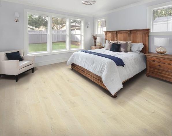natural wood look flooring in bedroom