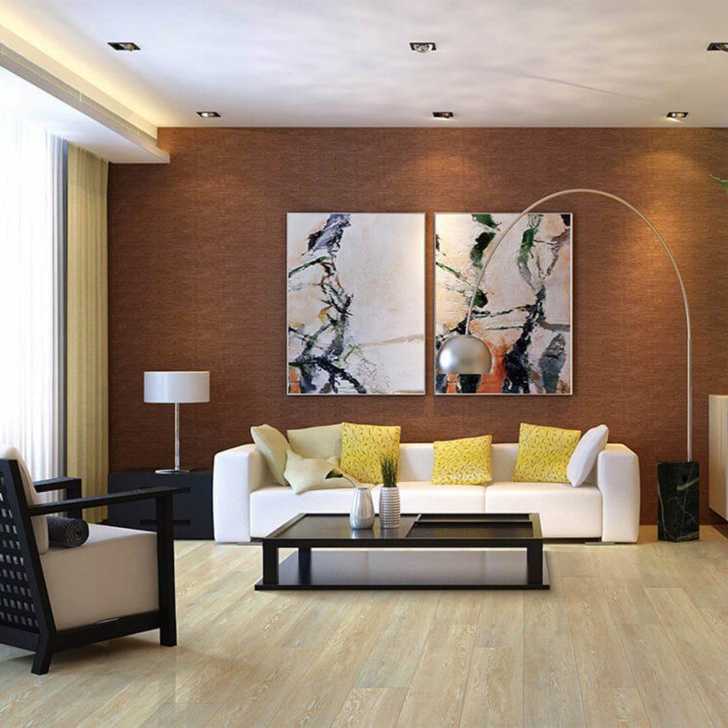 wood look flooring in living room