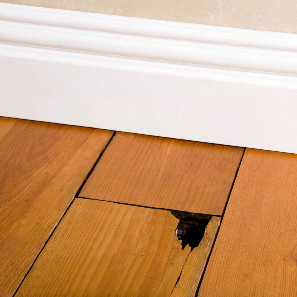 crack in hardwood flooring plank