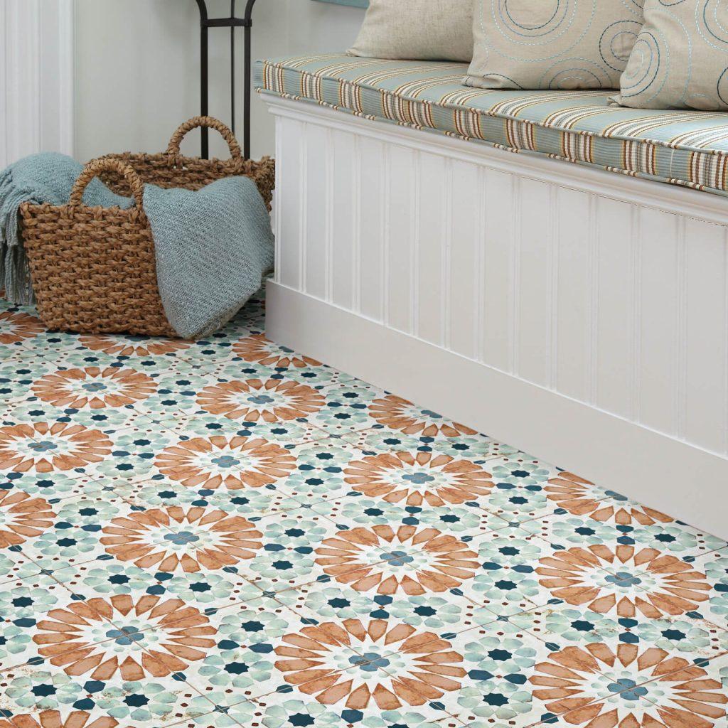 patterned tile in mudroom