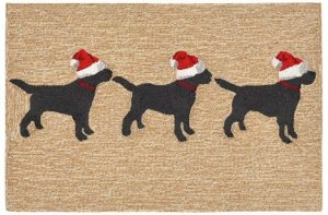 Liora Manne Frontporch 3 Dogs Christmas Natural Collection