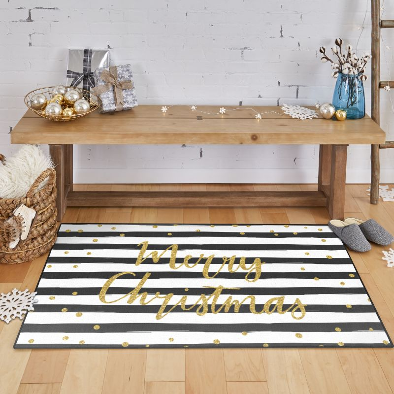 festive holiday rug in home