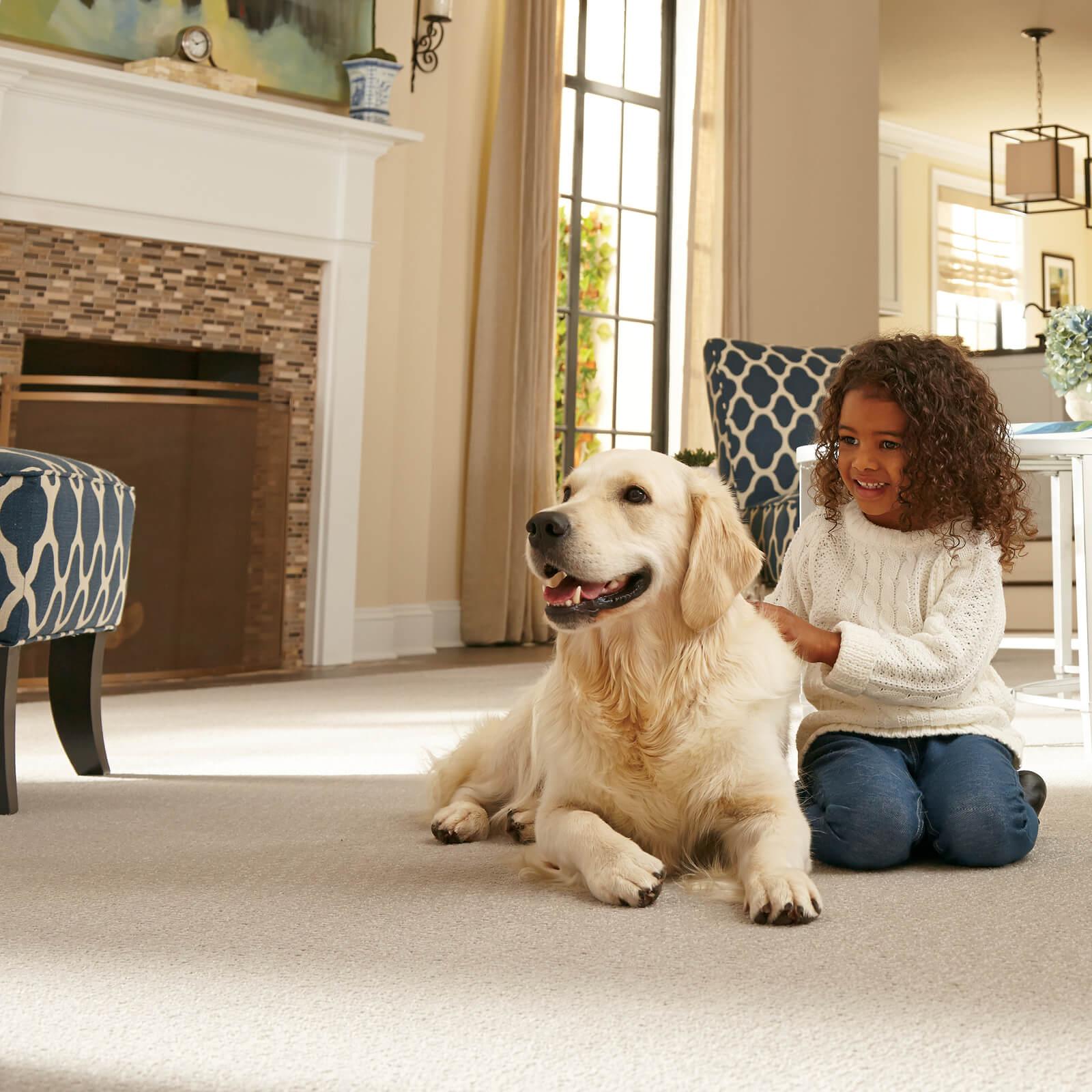 Kid with pet on carpet | Dolphin Carpet & Tile