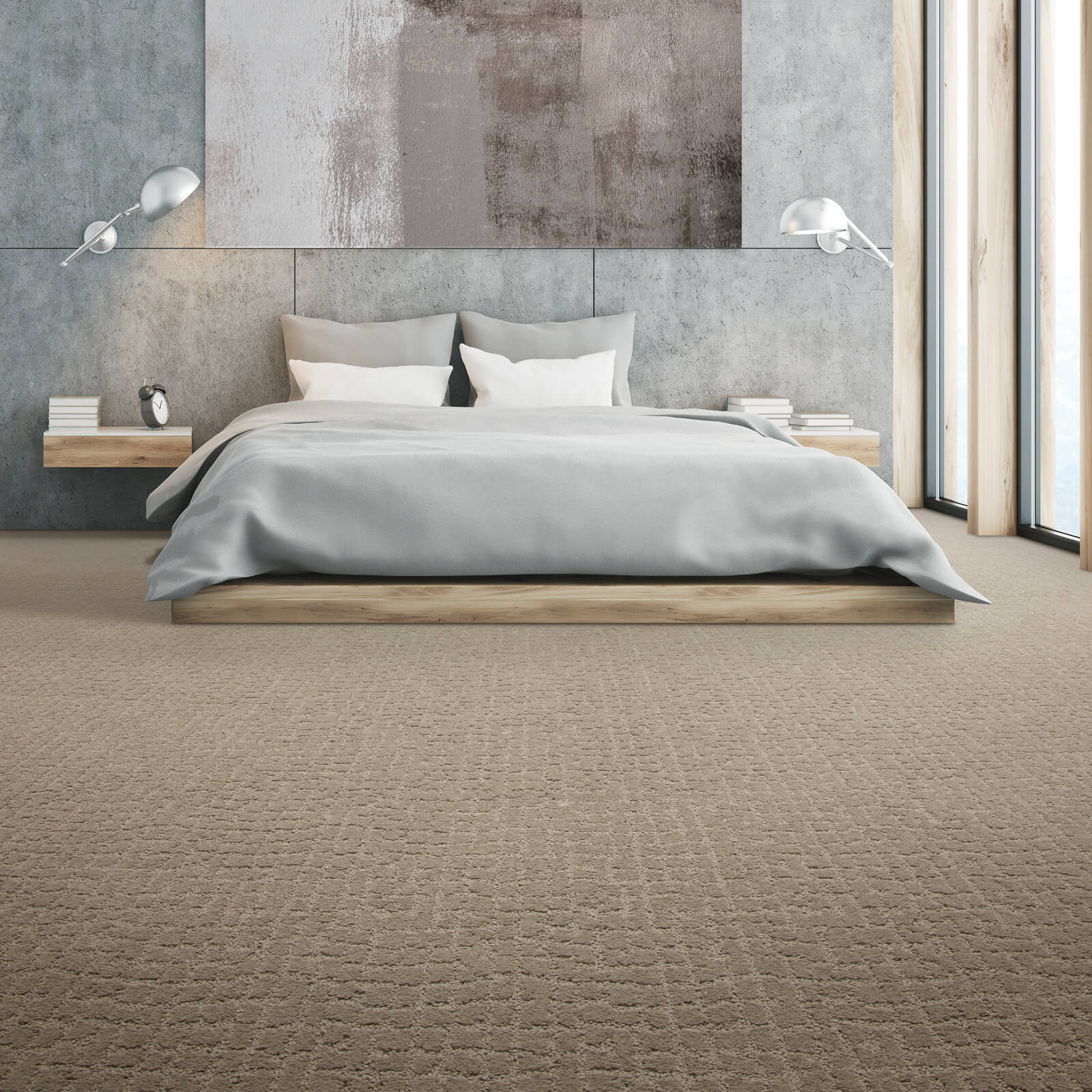 Spacious bedroom with carpet floor | Dolphin Carpet & Tile