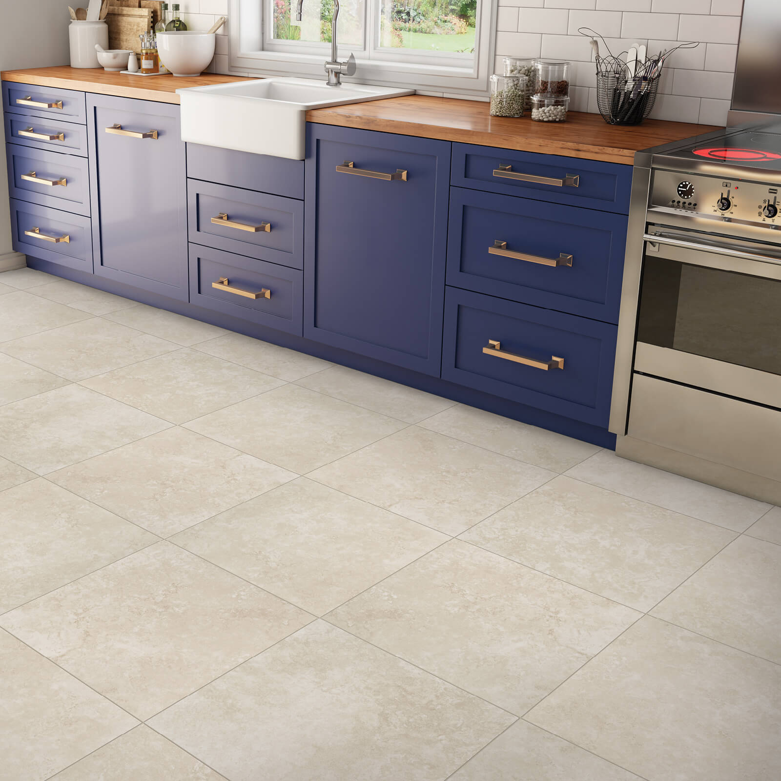 Blue cabinets | Dolphin Carpet & Tile