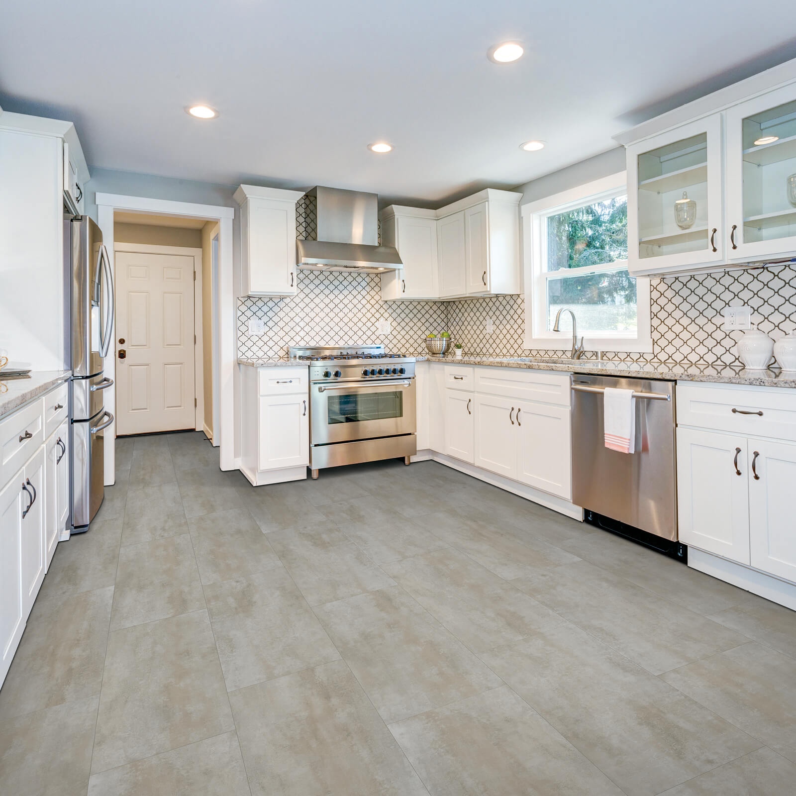 White cabinets of kitchen | Dolphin Carpet & Tile