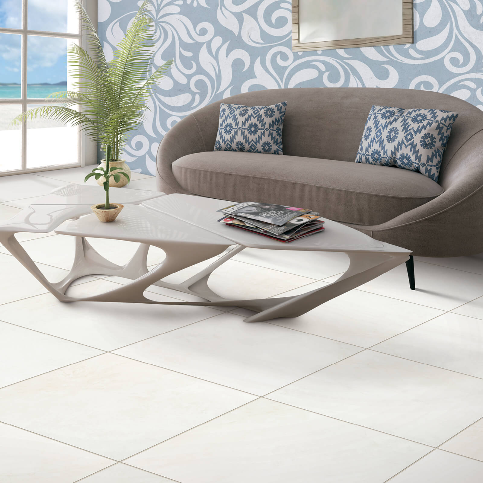 White tiles for living room | Dolphin Carpet & Tile