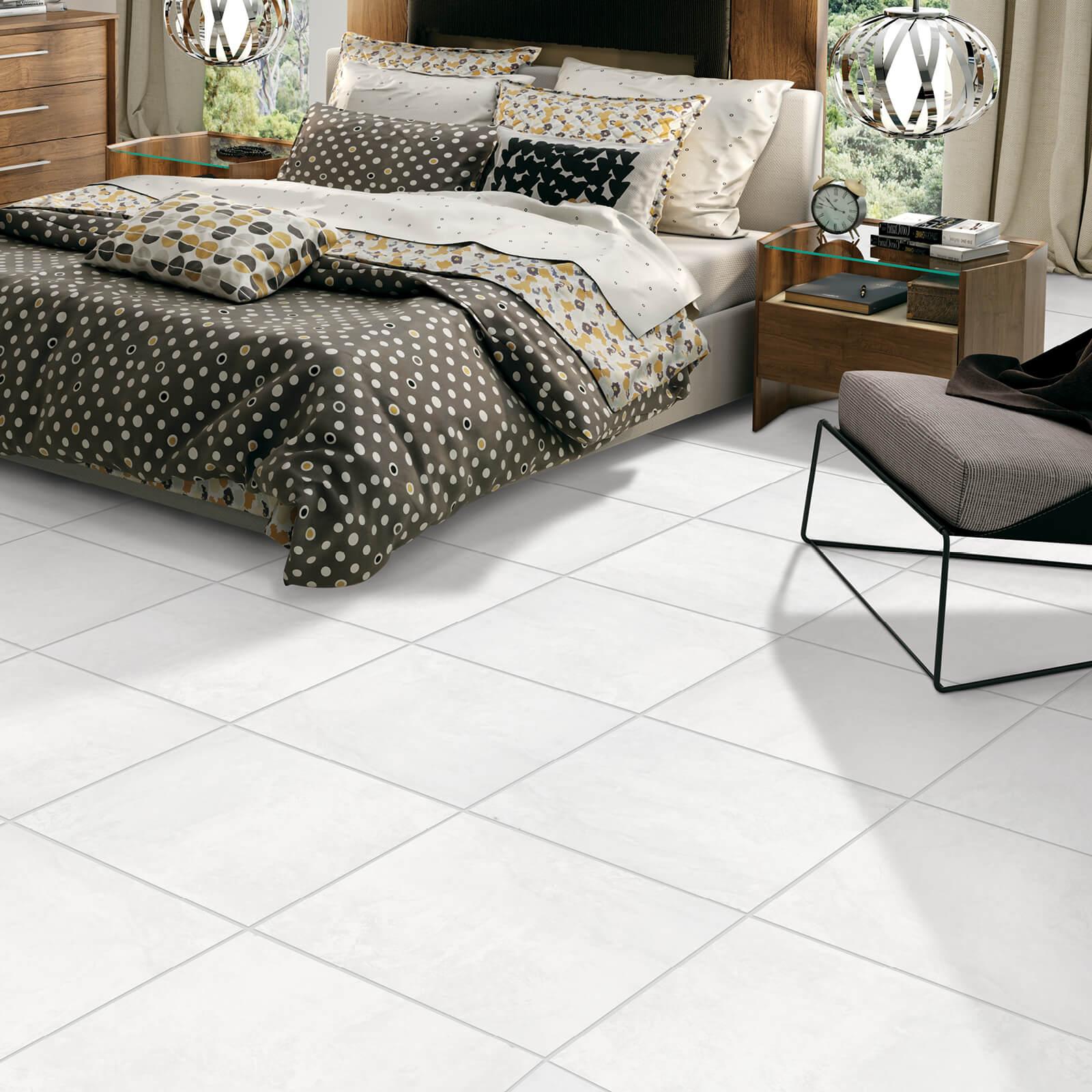 White tiles for bedroom | Dolphin Carpet & Tile